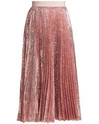 MSGM - Sequined Pleated Midi Skirt - Lyst