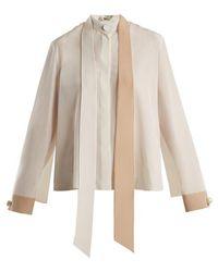 Fendi - Stand-collar Tie-neck Silk Blouse - Lyst