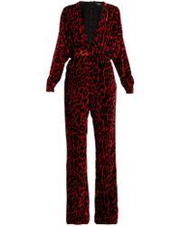 b02059ebd57 Balmain - Leopard Print Wide Leg Velvet Jumpsuit - Lyst