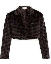 Isa Arfen - - Tartan Checked Cotton Velvet Cropped Jacket - Womens - Grey Multi - Lyst