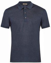 Bottega Veneta - Contrast-collar Silk-piqué Polo Shirt - Lyst