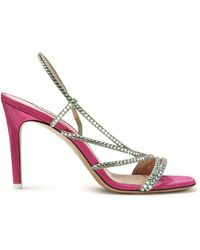 Attico - Pink Baby Crystal Embellished Sandals - Lyst