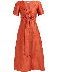 MASSCOB - Regina Tie Waist Linen Blend Dress - Lyst