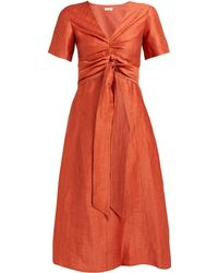 MASSCOB Robe en lin mélangé à taille nouée Regina - Orange