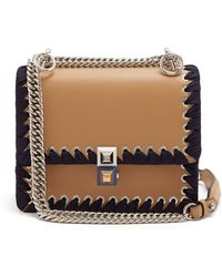 Fendi - Kan I Small Whipstitched Leather Cross-body Bag - Lyst