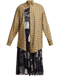 Balenciaga - Panelled Silk And Cotton Dress - Lyst