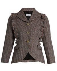 Sonia Rykiel - Single-breasted Ruffle-trimmed Wool-tweed Jacket - Lyst