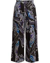 Pleats Please Issey Miyake - Flame Print Pleated Cropped Wide Leg Trousers - Lyst