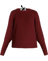 MUVEIL - Tie Back Cable Knit Cotton Blend Jumper - Lyst