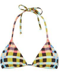 Mara Hoffman | Plaid Mustard-print Halterneck Bikini Top | Lyst