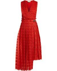 Fendi - Belted Floral Embroidered Silk Dress - Lyst