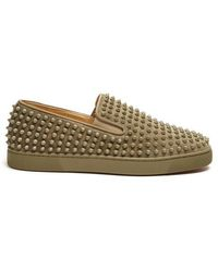Christian Louboutin - Roller Boat Spike-embellished Slip-on Trainers - Lyst