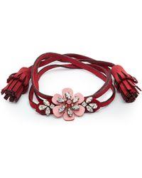Shourouk - Crystal-embellished Flower Alcantara Bracelet - Lyst