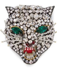 Gucci - Broche à ornements cristaux Angry Cat - Lyst
