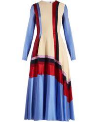 ROKSANDA - Woman Etta Striped Silk-satin, Cady And Twill Midi Dress Light Blue - Lyst