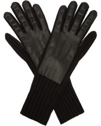 Burberry - Leather Panelled Cashmere Gloves - Lyst