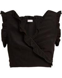 RED Valentino   Ruffle-trimmed Wrap Top   Lyst