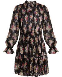 Rebecca Taylor - Bouquet Floral-print Silk-blend Mini Dress - Lyst