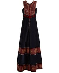 Talitha - Embroidered Contrast-panel Corduroy Dress - Lyst