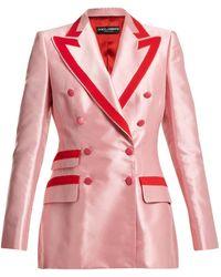 Dolce & Gabbana - Contrast-trim Double-breasted Satin Blazer - Lyst