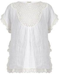 MASSCOB - Lace-bib Crinkled Linen-blend Top - Lyst