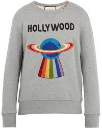 Gucci - Spaceship-appliqué Distressed Cotton Sweatshirt - Lyst