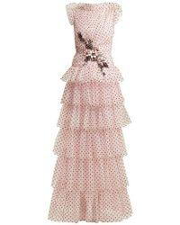 Rodarte - Flocked Tulle Ruffle Gown - Lyst