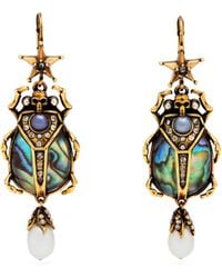 Alexander McQueen - Abalon Scarab Shell And Faux-pearl Drop Earrings - Lyst