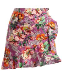 Isabel Marant - Mouna Floral-print Ruffle-trimmed Mini Skirt - Lyst
