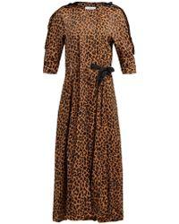 Toga Leopard Print Wrap Around Jacquard Dress - Brown
