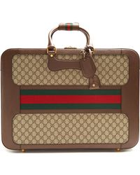 Gucci   Gg Supreme Canvas And Leather Suitcase   Lyst