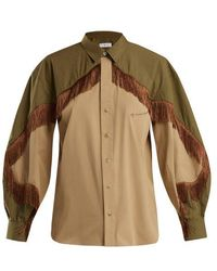 Toga - Fringed Cotton Blend Western Shirt - Lyst