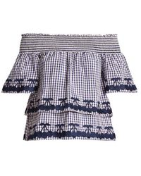 Bliss and Mischief - Off-the-shoulder Gingham Cotton Top - Lyst