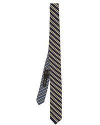 Etro - - Striped Woven Silk Tie - Mens - Navy Multi - Lyst