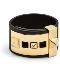 Valentino | Rockstud Wide Leather Band Bracelet | Lyst