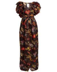 Rosie Assoulin - Ruffled Floral Print Organza Dress - Lyst