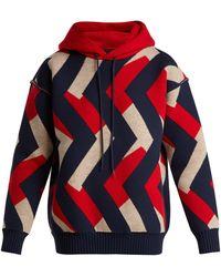 Junya Watanabe - - Zigzag Jacquard Wool Blend Hooded Sweater - Womens - Red Multi - Lyst