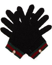Gucci - Web Striped Crochet Gloves - Lyst
