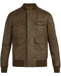 Bottega Veneta - Intrecciato Detailed Leather Bomber Jacket - Lyst