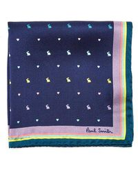 Paul Smith - Rabbit And Heart-print Silk Pocket Square - Lyst