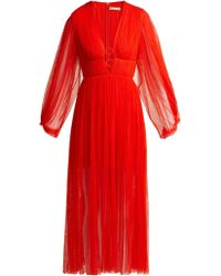 Maria Lucia Hohan - Astoria Deep V Neck Pleated Tulle Midi Dress - Lyst