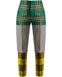 Balenciaga - Panelled Straight Leg Wool Trousers - Lyst