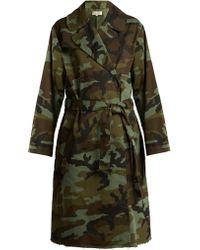 Nili Lotan - Farrow Camouflage Print Cotton Blend Trench Coat - Lyst