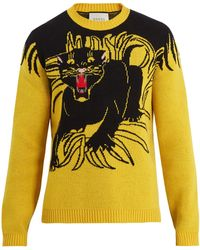 Gucci - Panther Intarsia-knit Wool Sweater - Lyst