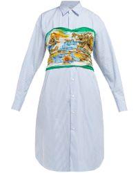 Junya Watanabe - Cotton Stripe X Silk Habutai Flower Print Shirt Dress - Lyst