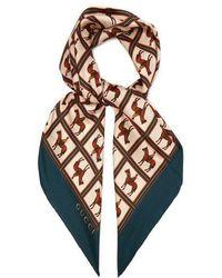 Gucci - Jockey-print Silk-twill Scarf - Lyst