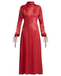Vivienne Westwood Anglomania - High-neck Long-sleeve Satin Dress - Lyst