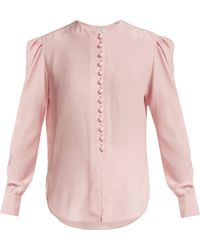Hillier Bartley - Covered Button Silk Blouse - Lyst