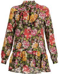 Etro - Frida Floral-print Tie-neck Silk Blouse - Lyst