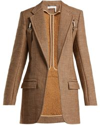 Chloé - Long Tweed Harness Blazer - Lyst